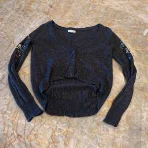 Gray cropped jewel sweater, urban outfitters